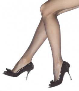 Young woman's legs in high-heeled black shoes